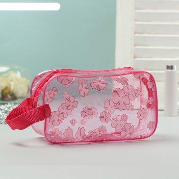 Косметичка-сумка банная клевер с ручкой, цвет малиновый