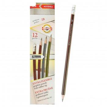 Набор 12шт карандаш ч/г k-i-n 1397 2b сверхгибкий, с ластиком (4157789)