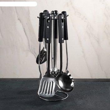 Набор кухонных принадлежностей 6 предметов техно, на подставке
