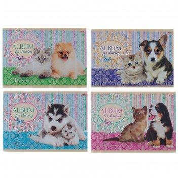 Альбом для рисования а4, 40 листов на скрепке маленькие друзья 5 видов мик