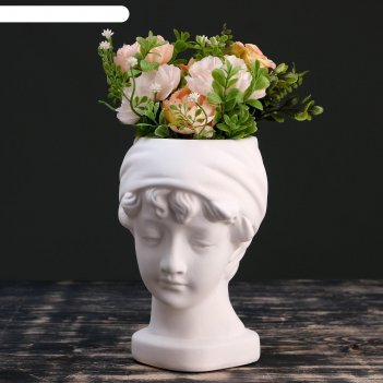 Кашпо керамическое голова девушки, белое 21*18см