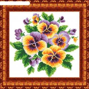 Схема для вышивания крестиком «анютины глазки», канва 17х17 см