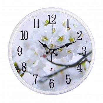 Часы настенные цветение яблони, рубин, микс 25х25 см