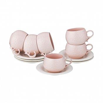 Кофейный набор на 6 персон, 12пр., 125 мл. розовый (кор=12набор.)