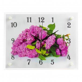 Часы настенные, серия: цветы, сирень, 30х40 см