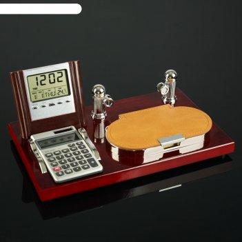 Набор настольный 4в1 (блок д/бумаг, калькулятор, визитница, часы)