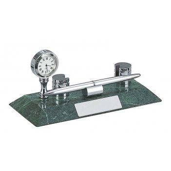 Настольный набор: ручка шариковая, держатель для визиток из алюминия, часы