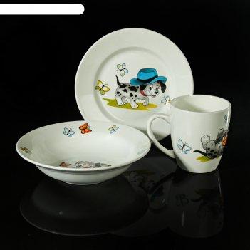 Набор детской посуды озорные щенки, 3 предмета: тарелка d=17,5 см, миска 2