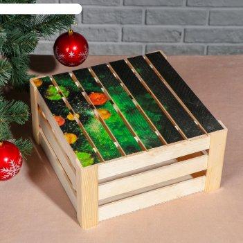 Подарочная коробка реечная ёлочка ночная, 30х30х15 см, с крышкой, печать