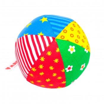 Развивающий мягкая погремушка мяч радуга, цвета микс