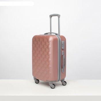 Чемодан малый 20, отдел на молнии, кодовый замок, 4 колеса, цвет розовый