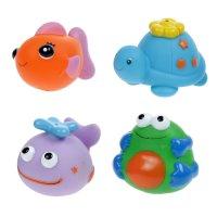 Набор игрушек для ванны, 4 шт.: черепашка, кит, рыбка, лягушка