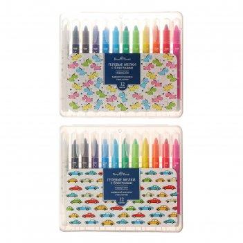 Мелки гелевые с блестками 12цв happycolor в пласт корпус 2вид микс 31-0014