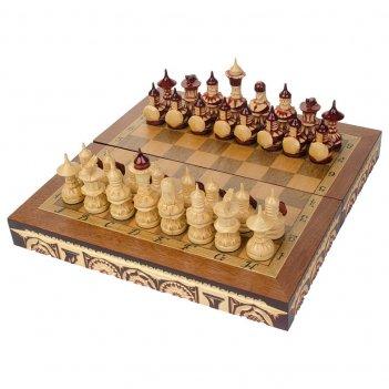 Шахматы резные ручной работы дорожные 30х30см