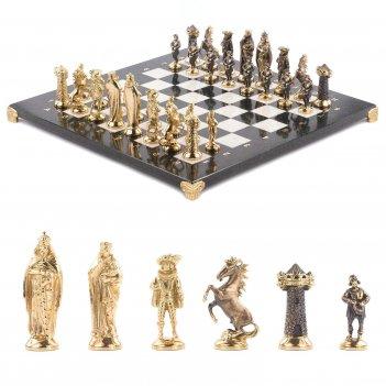 Шахматы средневековье бронза мрамор змеевик 400х400 мм