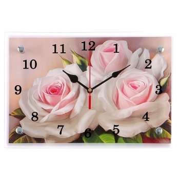 Часы настенные, серия: цветы, розы, 20х30 см