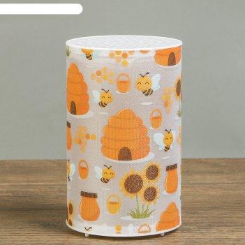 Ночник пластик медовые пчёлы от батареек cr2032х1 7,1х7,1х11,3 см