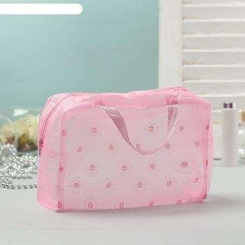 Косметичка-сумочка банная цветики, 2 ручки, цвет розовый