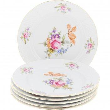 Тарелка десертная 19 см, menuet, декор мейсенский цветок, отводка золото