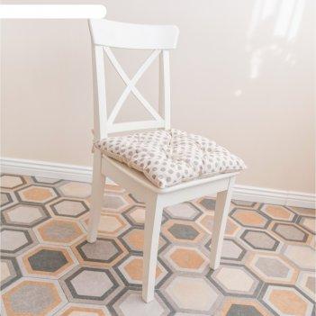 Подушка на стул, размер 45 x 45 см, принт горох, цвет серый