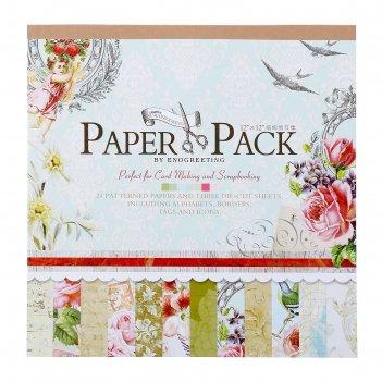 Набор бумаги для скрапбукинга 24 листа 12 дизайнов цветочная эйфория 30х30