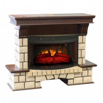 Электрокамин stone new с электроочагом firespace, 33, 1500 вт, цвет античн