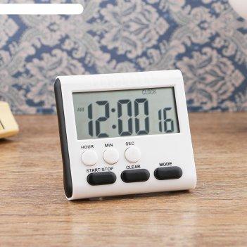 Настольные электронные часы серый квадрат, есть таймер, 1ааа, микс   8*7,5