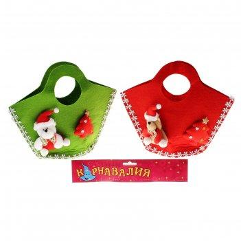 Мягкая игрушка-сумка мишка с елочкой, цвета микс