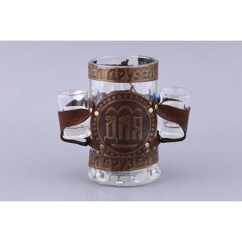 Набор:пивная кружка с 2 рюмками для друзей 600/3...