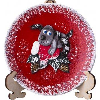 Тарелка декоративная символ года 2018 собака на варежке диаметр=12 см. без
