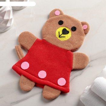 Мочалка варежка детская медвежонок
