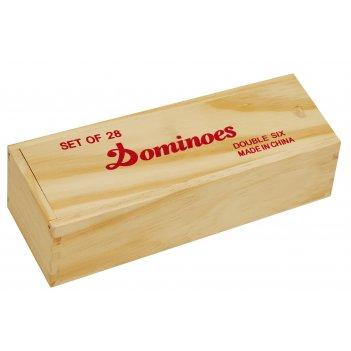 Домино в светлой деревянной коробке