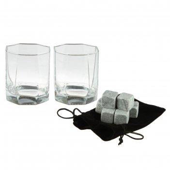 Набор для виски «на двоих» : 2 стакана, 6 камней