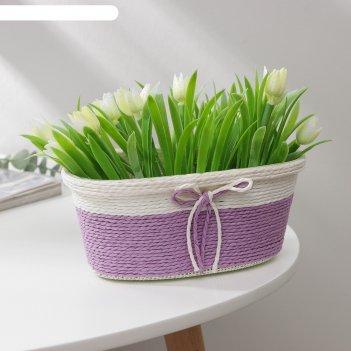 Кашпо плетеное «бантик», 19x12x8,5 см, овал, цвет микс