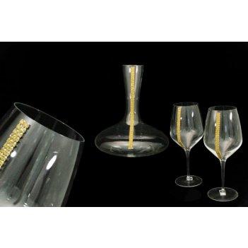 Набор для вина :декантер + 2 фужера на ножке (золото)
