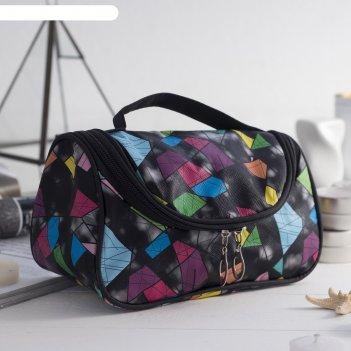 Косметичка-сумочка «абстракция», отдел на молнии, цвет чёрный