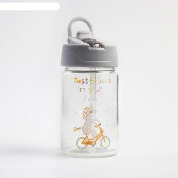 Поильник детский с мягким носиком, стекло, 300 мл., цвет серый