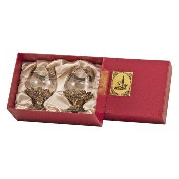 Набор из 2-х бокалов для бренди богемия, отделка флорис арт. нббб-02ф/к