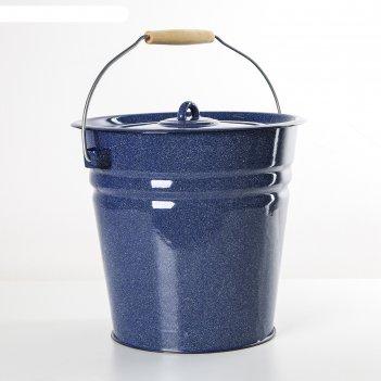 Ведро с крышкой 12 л, цвет синий с зерном