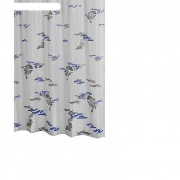 Штора для ванных комнат delphin, цвет синий/голубой, 180х200 см
