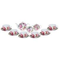 Сервиз чайный роза в зелени, 15 предметов: 6 чашек 220 мл, 6 блюдец, чайни