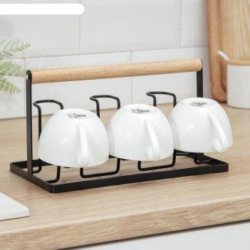 Подставка для кружек и стаканов доляна «лукреция», цвет чёрный