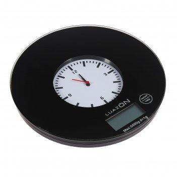 Весы кухонные luazon lvk-703, электронные, до 5 кг, встроенные часы, чёрны
