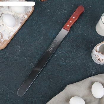 Нож для бисквита, ровный край, ручка дерево, рабочая поверхность 30 см (12
