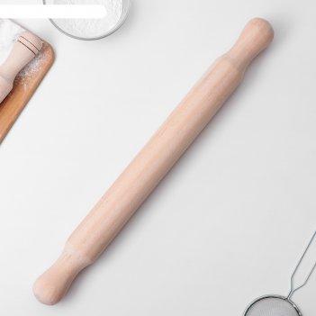 Скалка деревянная 50х5,5 см, с ручками