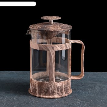 Френч-пресс мрамор 800 мл, цвет коричневый 13,5х10,5х18,5 см