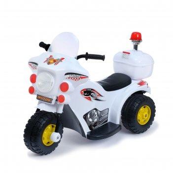 Электромобиль мотоцикл шерифа, цвет белый