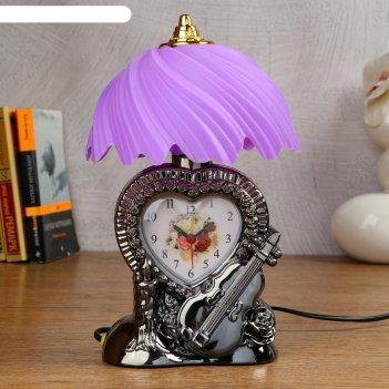 Часы-светильник сердце  с будильником, 1 аа, дискретный ход, циферблат 7.2