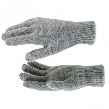 Перчатки трикотажные, акрил, двойные, серая туча, двойная манжета россия с