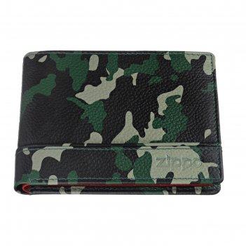 Портмоне zippo, зелёно-чёрный камуфляж, натуральная кожа, 11,2x2x8,2 см